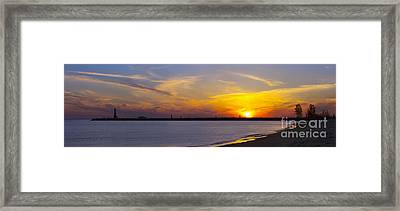 Muskegon Pier At Sunset Framed Print by Twenty Two North Photography