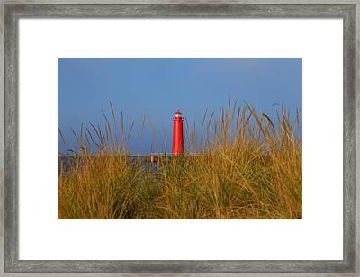 Muskegon Pier Lighthouse Framed Print by Rachel Cohen