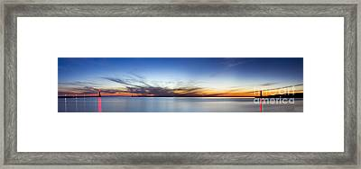 Muskegon Piers After Sunset Framed Print by Twenty Two North Photography