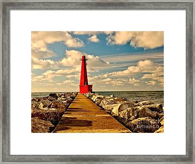 Muskegon South Pier Light Framed Print