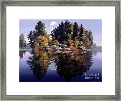 Muskoka  Moon Framed Print by Michael Swanson