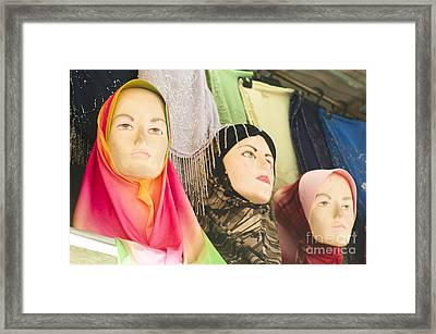 Muslim Woman Mannequin Wearing Headscarf-hijab Or Hijaab Framed Print by Tuimages