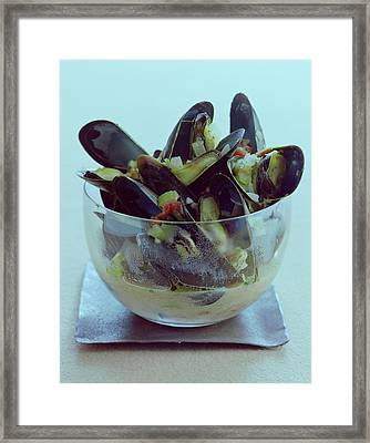 Mussels In Broth Framed Print by Romulo Yanes