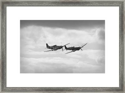 Mustang And Spiffier Fighter Planes Framed Print by Maj Seda