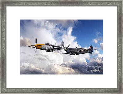 Mustang And Spitfire  Framed Print by J Biggadike