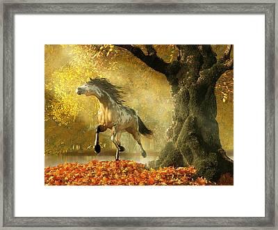 Mustang Autumn Framed Print by Daniel Eskridge