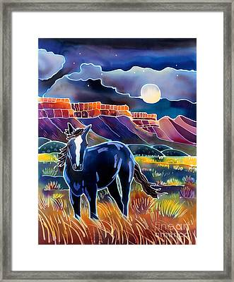 Mustang In The Moonlight Framed Print by Harriet Peck Taylor