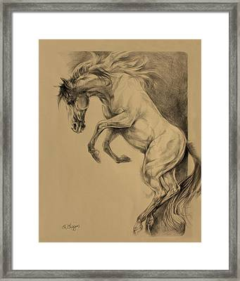 Mustang Rearing Framed Print by Derrick Higgins
