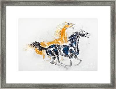 Mustangs Framed Print by Kurt Tessmann