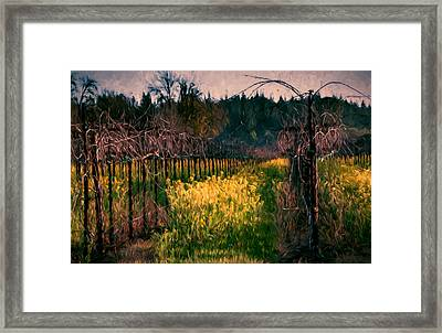 Mustard Flowers With Vines Framed Print
