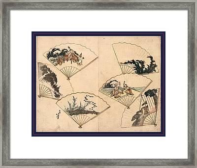 Mutamagawa Senmen Harimaze Framed Print by Hokusai, Katsushika (1760-1849), Japanese
