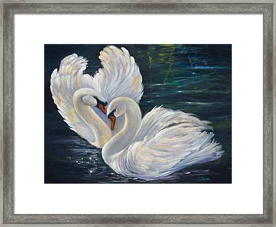 Mute Swans Framed Print by Carolyn D Barela