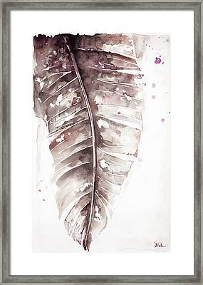 Muted Watercolor Plantain Leaves I Framed Print