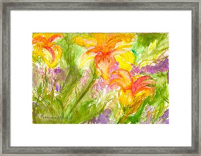 Muti-colored Flowers Framed Print by Ramona Wright