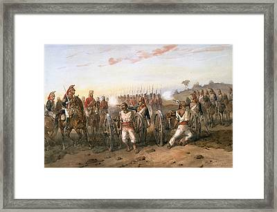 Mutineers About To Be Blown From Guns Framed Print by Orlando Norie