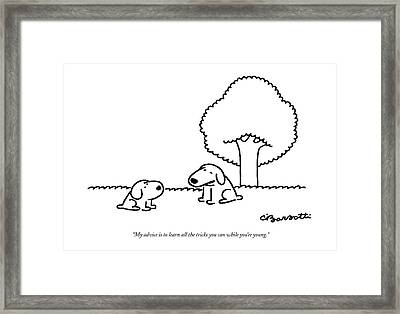 My Advice Is To Learn All The Tricks Framed Print by Charles Barsotti