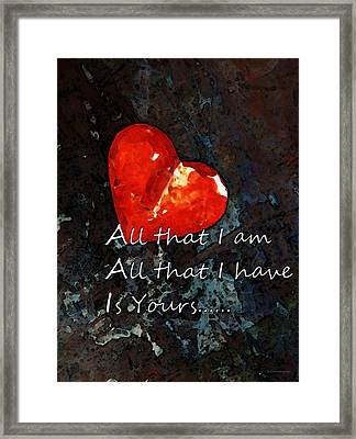 My All - Love Romantic Art Valentine's Day Framed Print by Sharon Cummings