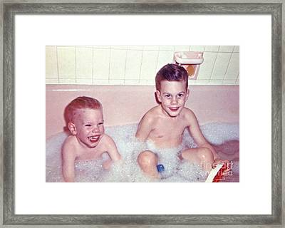 My And My Brother Taking Our Saturday Night Bath Framed Print by Jim Fitzpatrick