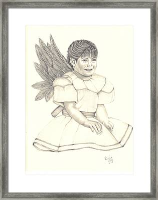 Framed Print featuring the drawing My Angel by Patricia Hiltz