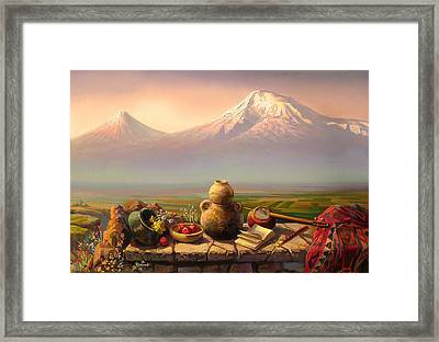 My Armenia On Shoulders Of The Father Framed Print by Meruzhan Khachatryan