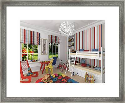 My Art In The Interior Decoration -venetian Jester In The Children's Room-  Elena Yakubovich Framed Print