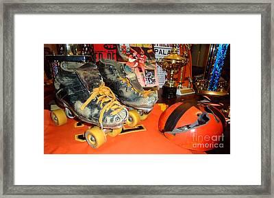 My Battle Scarred Roller Derby Skates And Helmet   Framed Print by Jim Fitzpatrick