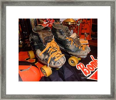 My Battle Scarred Roller Derby Skates  Framed Print by Jim Fitzpatrick