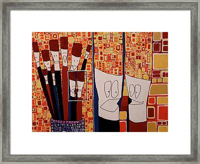 Framed Print featuring the painting My Brushes Are Talking About Me by Donna Howard