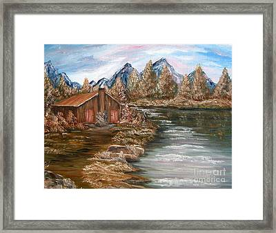 My Cabin By The Lake Framed Print