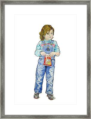 My Daughter Talli At Age 3 Framed Print by Sam Shacked