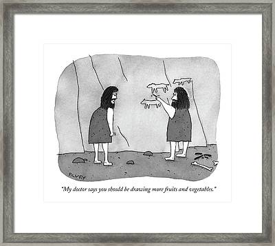 My Doctor Says You Should Be Drawing More Fruits Framed Print by Peter C. Vey