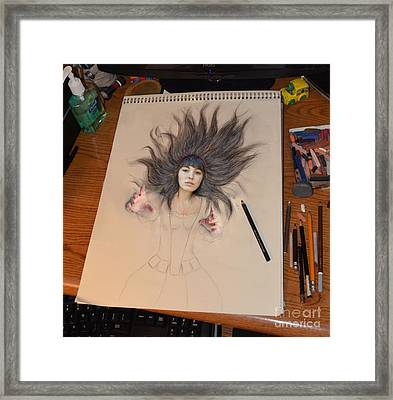 My Drawing Of A Beauty Coming Alive Framed Print