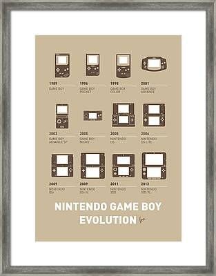 My Evolution Nintendo Game Boy Minimal Poster Framed Print by Chungkong Art