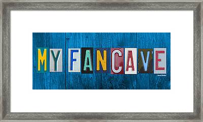 My Fancave License Plate Letter Vintage Phrase Artwork On Blue Wood Framed Print by Design Turnpike