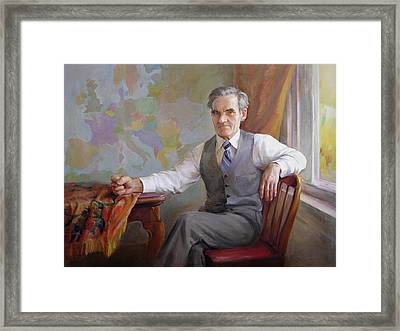 Framed Print featuring the painting My Father Taras by Svitozar Nenyuk