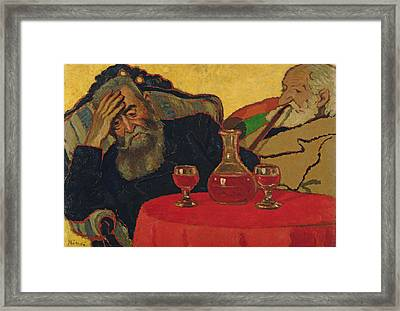 My Father With Uncle Piacsek Drinking Red Wine, 1907 Framed Print by Jozsef Rippl-Ronai