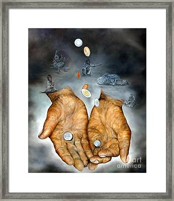 Framed Print featuring the painting My Father's Hands - Survival by Anna-Maria Dickinson