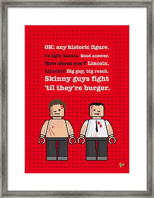 My Fight Club Lego Dialogue Poster Framed Print by Chungkong Art