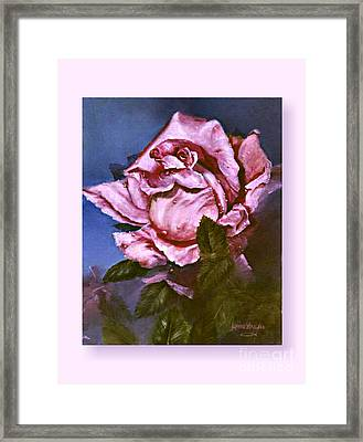 Framed Print featuring the painting My First Rose by Lynne Wright