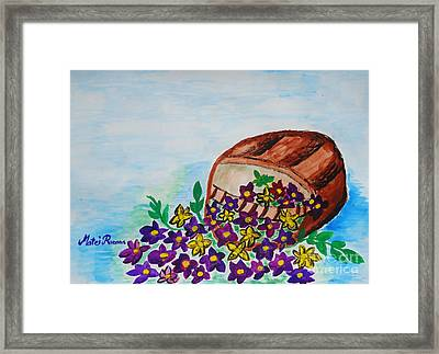 Framed Print featuring the painting My Flower Basket by Ramona Matei