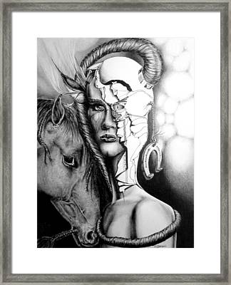 Framed Print featuring the drawing My Friend by Geni Gorani