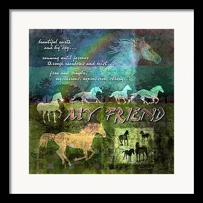 Horse In Field Framed Prints