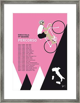 My Giro D Italia Minimal Poster 2014-percoso Framed Print