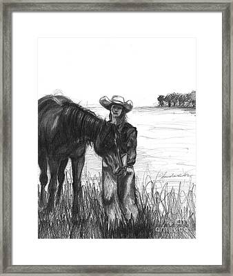 Framed Print featuring the drawing My Heart Is Big But It Beats Quiet by J Ferwerda