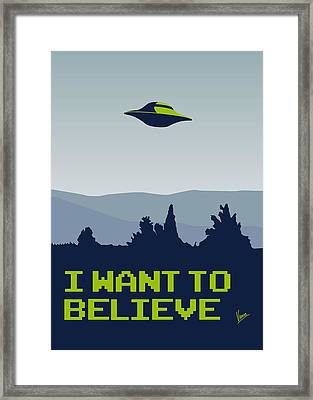 My I Want To Believe Minimal Poster Framed Print by Chungkong Art