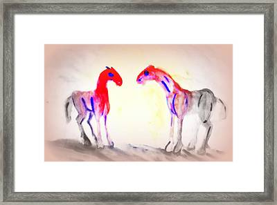 We Are Painting The Horses Because There Are A Lot Of Things We Can't Say To Anyone  Framed Print by Hilde Widerberg