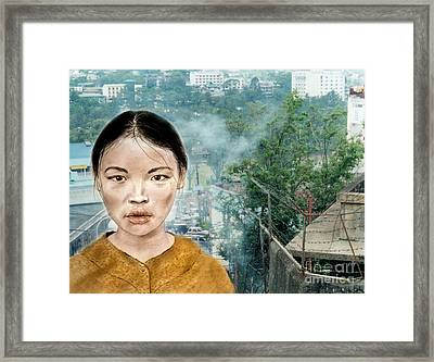 My Kuiama A Young Vietnamese Girl Version II Framed Print by Jim Fitzpatrick