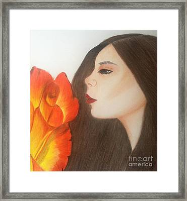 Framed Print featuring the drawing My Life Is Like A Rose by Saribelle Rodriguez