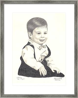 Framed Print featuring the drawing My Little Boy by Patricia Hiltz
