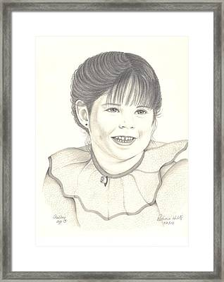 Framed Print featuring the drawing My Little Girl by Patricia Hiltz